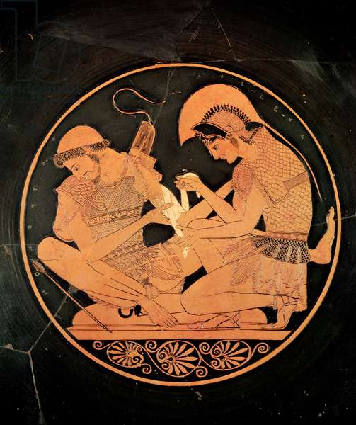 Interior of an attic red figure kylix depicting Achilles Tending the Wounded Patrocles, from Vulci, c.500 BC (ceramic)