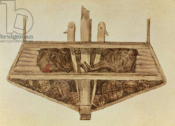 Cross-section of a slave ship, from a manuscript on slavery by the artist, late 18th century (w/c and ink on paper)