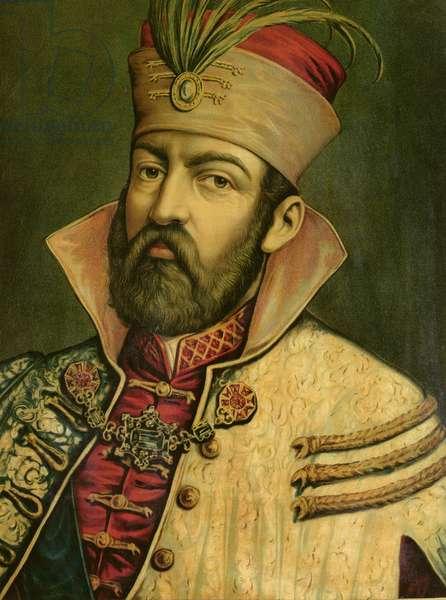 Miklos Zrinyi (1508-66), Ban of Croatia (1542-56) (colour litho)