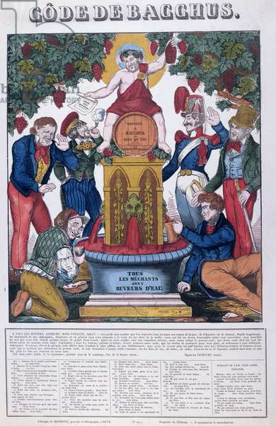 'The Bacchus Code, All Unpleasant People are Water Drinkers', caricature on alcoholism, Imagerie de Metz, c.1840 (colour litho)