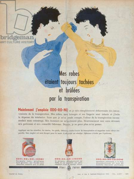 Advertisement for the Deodorants ODO-RO-NO, illustration from 'Marie-France' magazine, 1949 (colour litho)