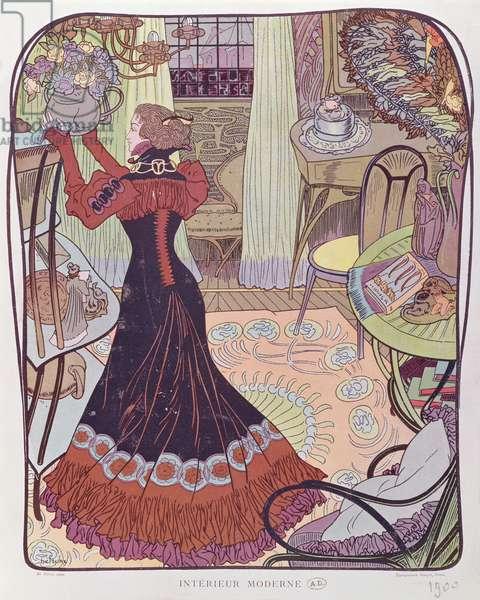 Modern Interior, 1900 (colour litho)