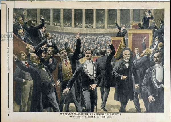 Scandalous Scene at the Chambre of Deputies, from 'Le Petit Journal', 30th May 1909 (litho)