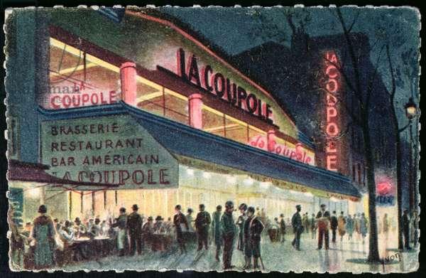 Postcard depicting La Coupole, Montparnasse, Paris, c.1925 (colour litho)