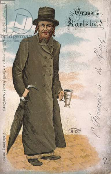 'Greetings from Karlsbad', souvenir postcard from the spa of Karlsbad depicting a Jew with traditional dress and hair and holding a cup for drinking mineral wate,. late 19th century (colour litho)
