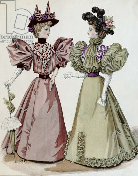 French fashion, 1895 (coloured engraving)