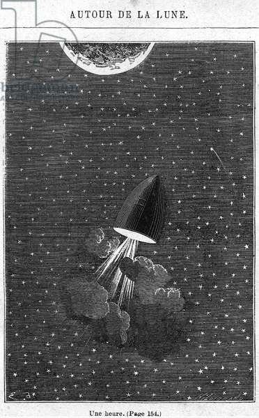 Leaving for the Moon, illustration from 'Around the Moon' by Jules Verne (1828-1905) Paris, Hetzel, engraved by Henri Theophile Hildibrand (1824-97) (engraving) (b/w photo)