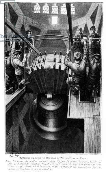 Demonstration of the method of ringing the 'Bourdon' bell of Notre-Dame, Paris, early 20th century (photolitho))