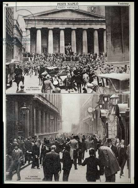 Top: Black Days on Wall Street; Bottom: the Stock Exchange in London at the time of the Crash in 1929, from 'Pesti Naplo', 1929 (photo)