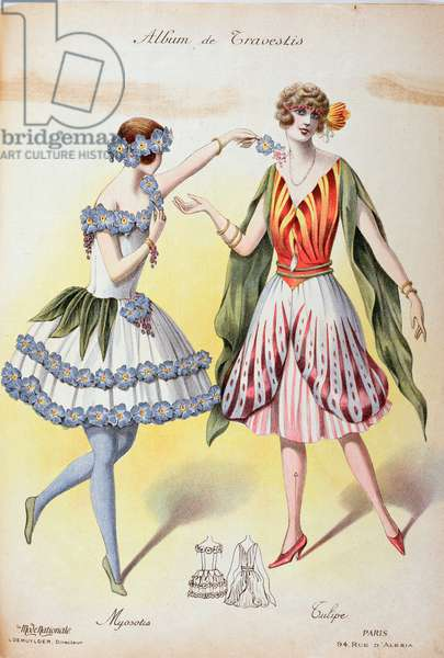 Forget-me-not and Tulip, fancy dresses from Album de Travestis by 'La Mode Nationale', c.1920-30 (colour engraving)