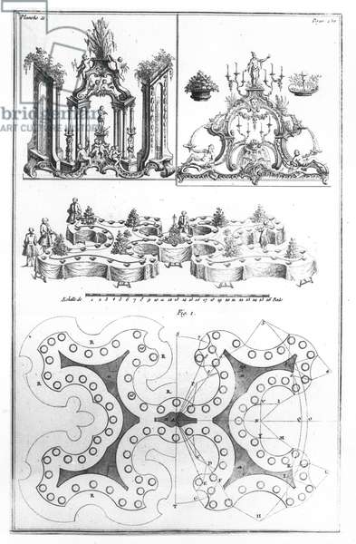 Plan and decoration for a table, from 'Le Cannameliste Francais' by Joseph Gilliers, published in Nancy by Jean Baptiste Hiacinthe Leclerc in 1768 (engraving) (b/w photo)