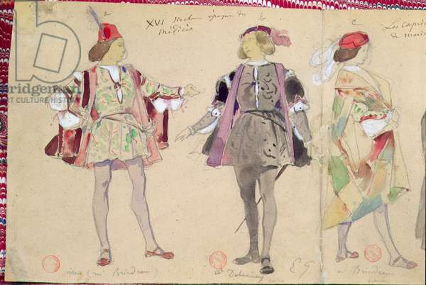 Costume designs for Octave (played by Brindeau) and Coelio (played by Delaunay) for 'Les Caprices de Marianne' by Alfred de Musset (1810-57) (w/c on paper)