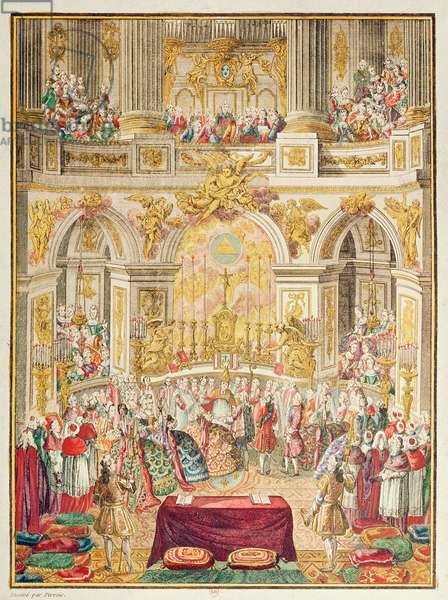 Marriage of the Dauphin of France (future Louis XVI) with Archduchess Marie-Antoinette in the chapel at Versailles on 16 May, 1770 (coloured engraving)