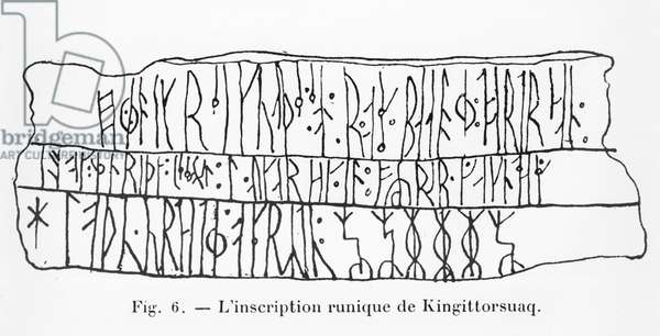 Runic inscription of Kingittorsuaq, illustration from 'Manuel d'A1cheologie Americaine' by H. Beuchat, Paris, 1912 (pen & ink on paper) (b/w photo)