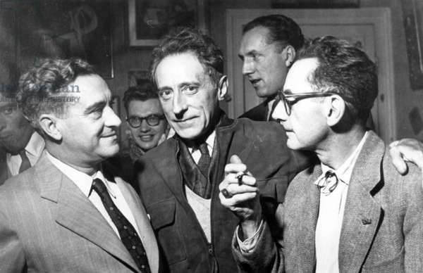Georges Hugnet, Jean Cocteau and Louis Durey (b/w photo)