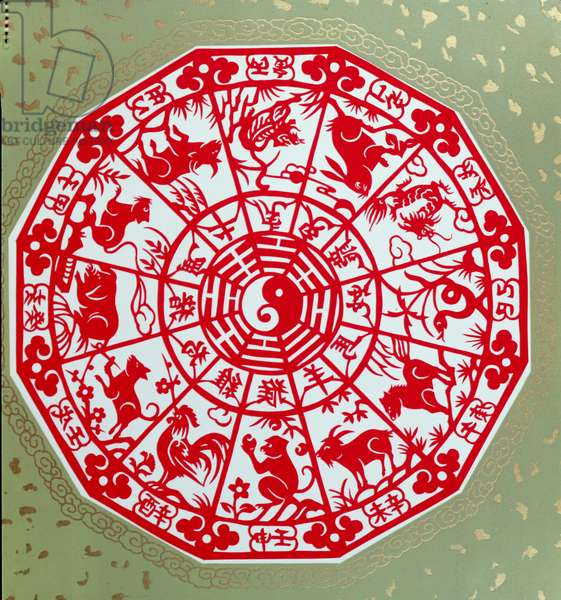Chinese papercut depicting the twelve signs of the zodiac, c.1980 (paper)