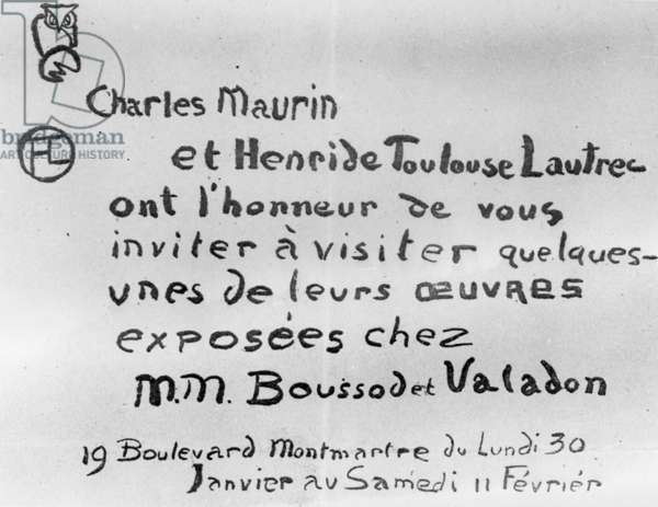 Invitation to an exhibition of the work of Charles Maurin and Henri de Toulouse-Lautrec (litho)