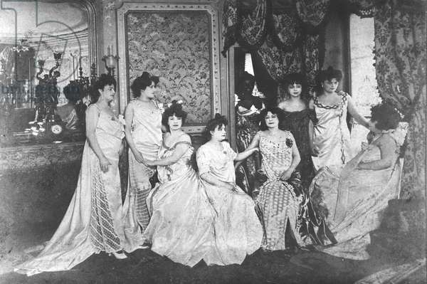 A Brothel in Paris, c. 1900 (b/w photo)