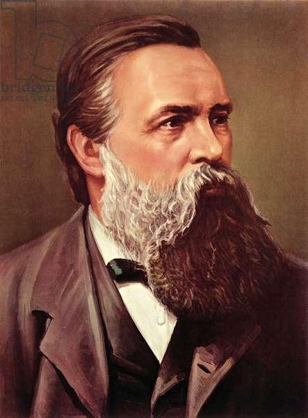 Portrait of Friedrich Engels (1820-95), 1970 (colour litho)