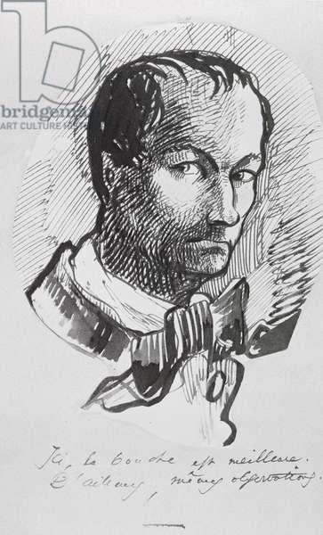 Self Portrait, c.1860 (pen & ink on paper) (b/w photo)