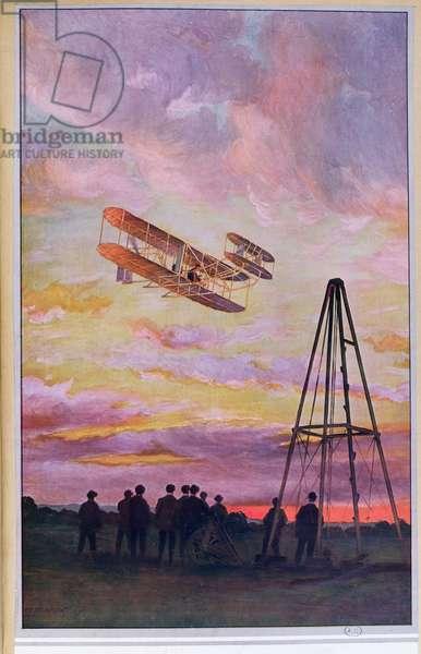 Wilbur Wright (1867-1912) in flight, c.1909 (colour litho)
