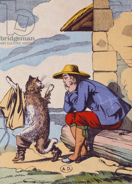 The cat tells his master to cheer up and not be sad, illustration of the Perrault fairy tale 'Puss in Boots; (Le Chat Botté), early 20th century (colour litho)