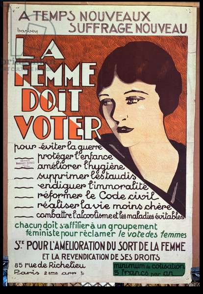 'Women Must Vote', poster encouraging women to fight for voting rights, c.1925-30 (colour litho)