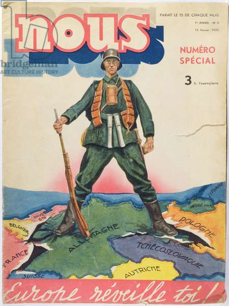 'Europe, Wake Up', cover illustration depicting the threat of Germany, from 'Nous', published 15th February 1933 (colour litho)