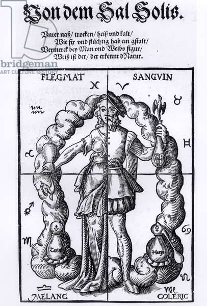 The Four Humours, from 'Quinta Essentia' by Leonhart Thurneisser zun Thurn (1531-95/6) published in Leipzig, 1574 (engraving) (b/w photo)