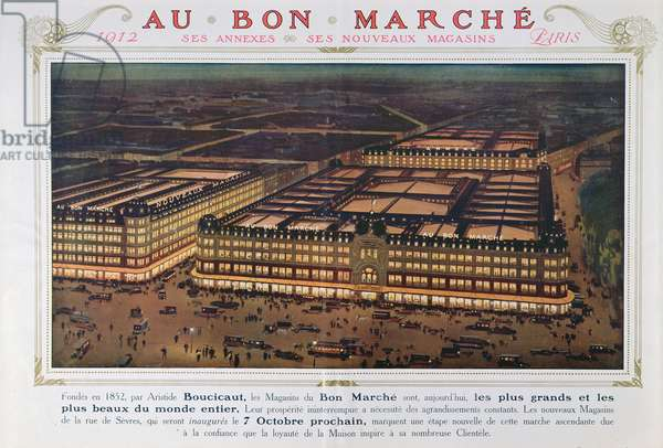 Advertisement for Le Bon Marche new store opening, 1912 (colour engraving)
