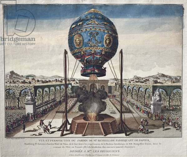 View of the Montgolfier Brothers' Balloon Experiment in the Garden of M. Reveillon on the 19th of October, 1783 (coloured engraving)