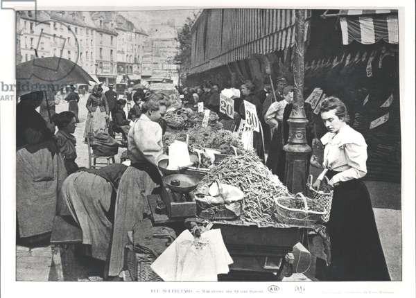 The Street merchant in the rue Mouffetard, Paris, 1896 (b/w photo)