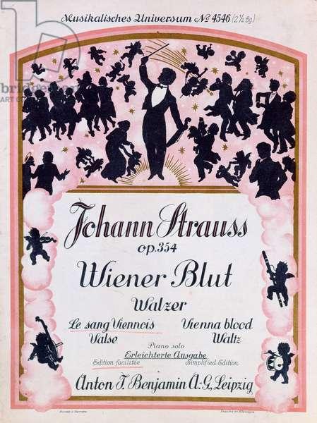Cover of the Score of the famous waltz 'Wiener Blut' op.354 by Johann Strauss II, (1825-99), 1930 (colour litho)