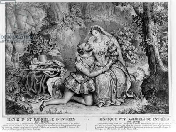 Henri IV (1553-1610), King of France and Gabrielle d'Estrees (1573-99) (engraving) (b/w photo)