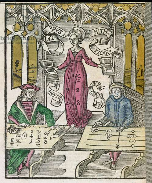Allegory of Arithmetic, from 'Margarita Philosophica' by Gregor Reisch, 1503 (woodcut)