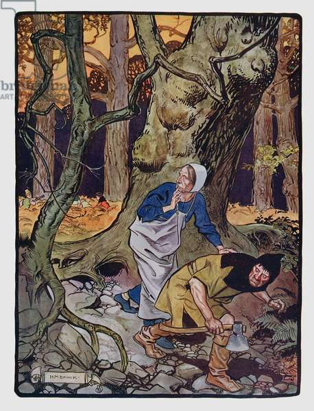 Tom Thumb and his brothers are abandoned by their parents in the forest, illustration for an English edition of Perrault's Contes, 'The Book of Fairy Tales', published in London, early 20th century (colour litho)