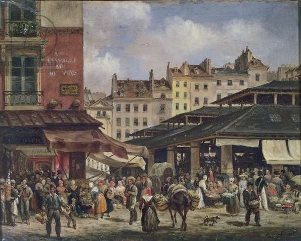 View of the Market at Les Halles, c. 1828 (oil on canvas)