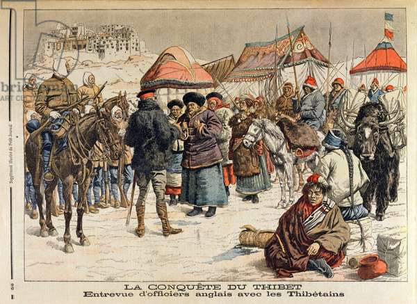 The Conquest of Tibet, illustration from 'Le Petit Journal', 14th February 1904 (colour litho)
