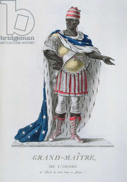 Grand Master of the Order of the Star of Notre-Dame, in African ceremonial dress, from 'Recueil de Tous Les Costumes des Ordres Religieux et Militaires', published 1785 (coloured engraving)