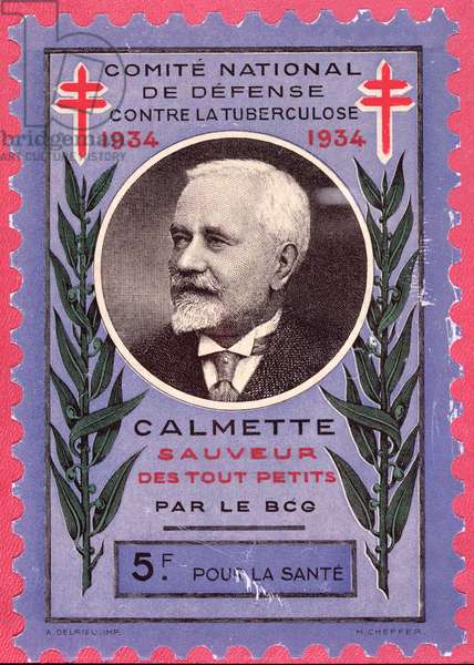 Stamp for the National Committee Against Tuberculosis depicting Albert Calmette (1862-1933) 1934 (litho)