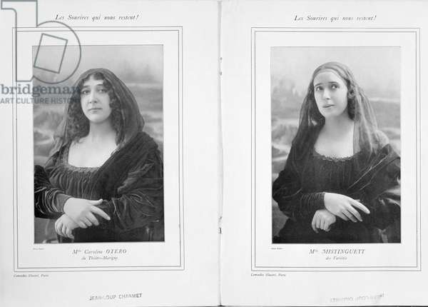La Belle Otero and Mistinguett as the Mona Lisa, from an article 'Les Sourires qui Nous Restent' in 'Comoedia Illustre', 1911 (b/w photo)