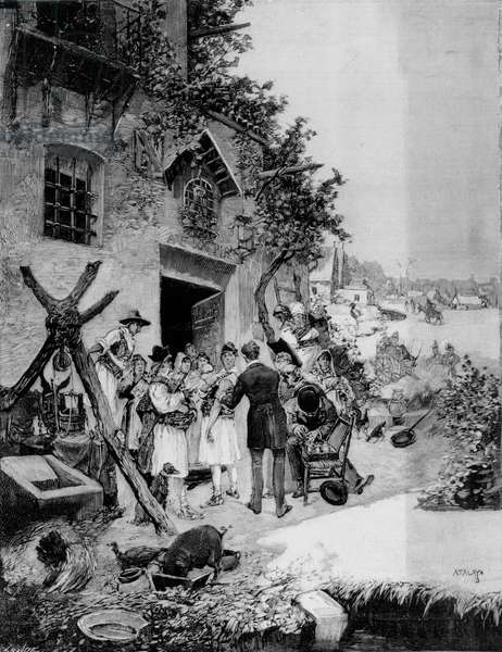 Performing a Public Vaccination Against Cholera in the Murcia area, 1885 (woodcut) (b/w photo)