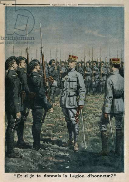 General Petain inspecting the 42nd Mountain Infantrymen Regiment, and what if I give you the Legion of Honour, back cover illustration from 'Le Petit Journal', supplement illustre, 23rd September 1917 (colour litho)