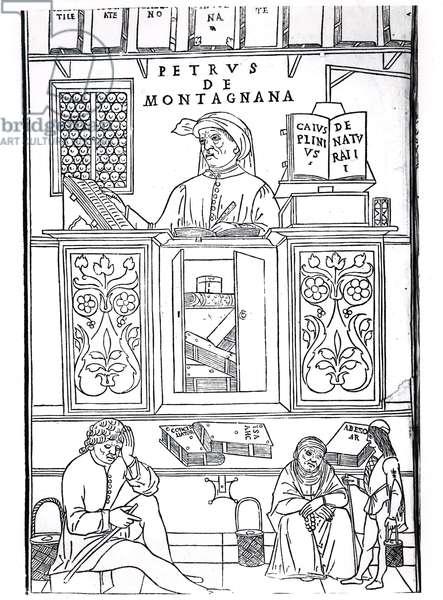Petrus de Montagnana, illustration from 'Fasciculus Medicinae' by Jean de Ketham, published in Venice 1495 (woodcut) (b/w photo)