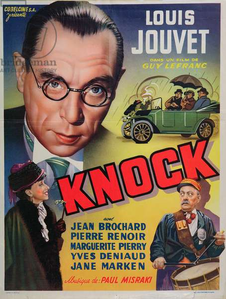 Poster advertising the film 'Knock' starring Louis Jouvet, c.1940 (colour litho)