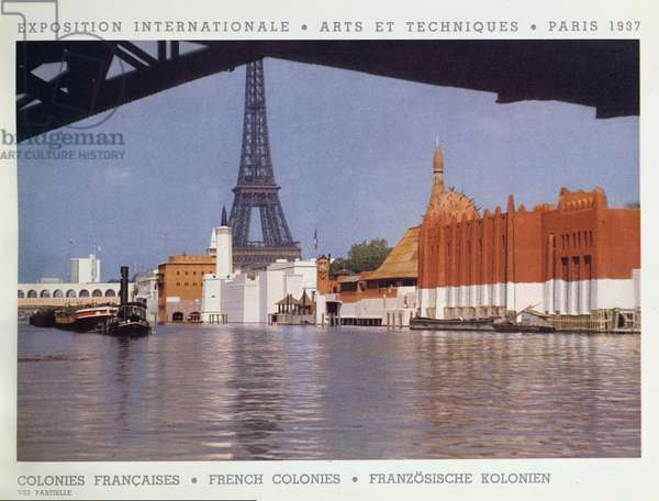 The French Colonies Pavilion at the Universal Exposition, Paris, 1937 (colour litho)
