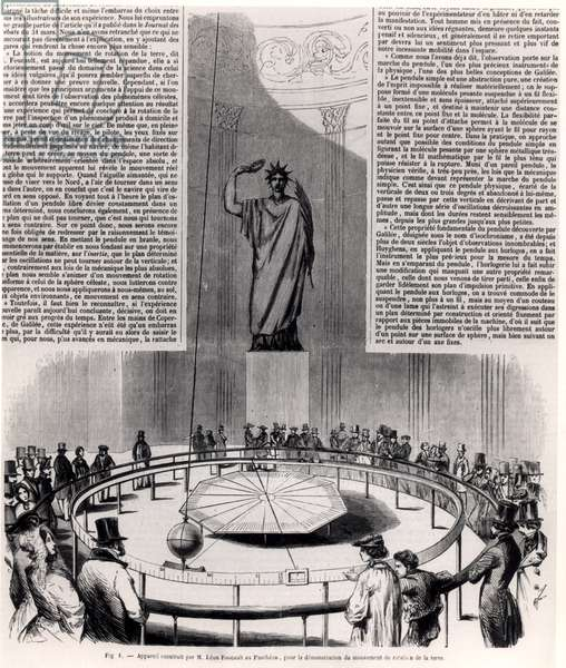 Foucault's Pendulum at the Pantheon in Paris, c.1852 (engraving) (b/w photo)