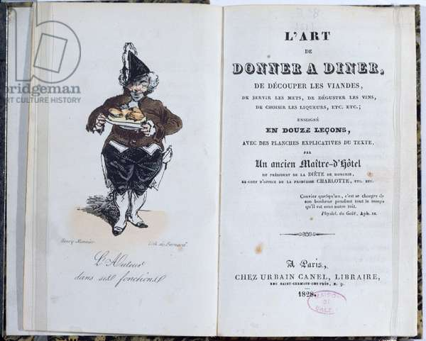 Frontispiece of the book 'L'Art de Donner A Diner', published by Honore de Balzac (1799-1850), 1828 (colour litho)