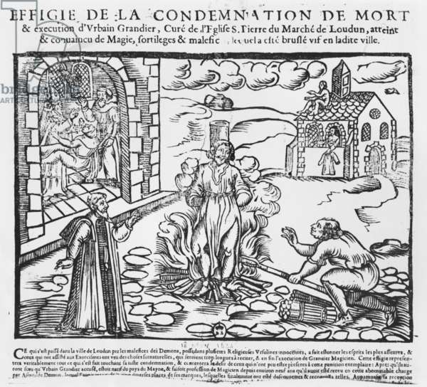Urbain Grandier burned at the stake after the events of the Loudun possession, 1634 (wood engraving)