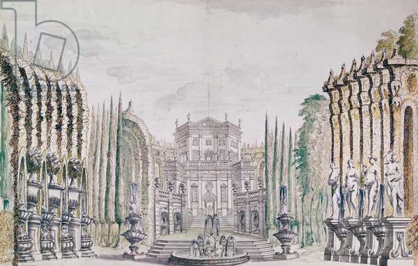 Set design of a palace for a theatre, c.1660-80 (pen & ink and w/c on paper)